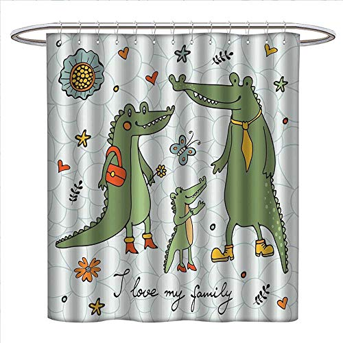 haommhome Family Shower Curtain Collection by I Love My Family Theme Cute Hand Drawn Alligators Natural Background Fun Graphic Patterned Shower Curtain W36 x L72 Multicolor