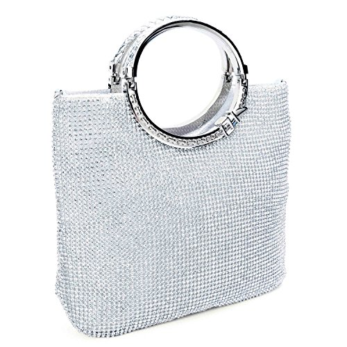 Chichitop Women Crystal Rhinestone Evening Clutches Bags Wedding Purse Handbags with Bow Frame, Silver