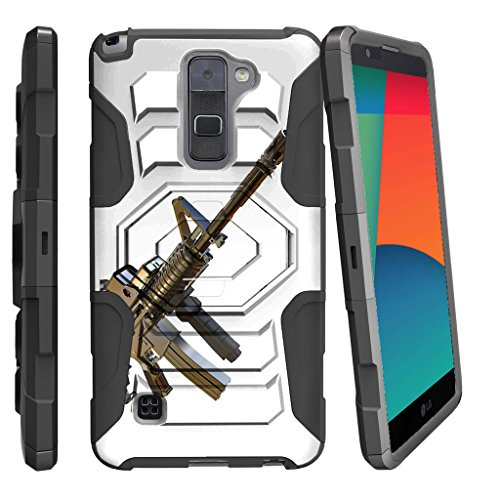 MINITURTLE Case Compatible w/ LG Stylo 2 |LG Stylus 2 Case,[Armor Reloaded] Rugged Belt Clip + Holster Stand Guns and Ammo [L82VL L81VL K540 K520] Assault Gun (Assault Body Full)