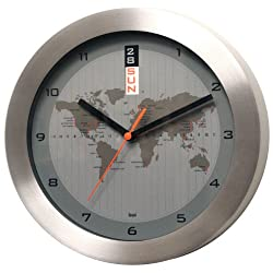 BAI Brushed Aluminum Greenwich Mean Time Wall Clock with Automatic Day & Date, Silver