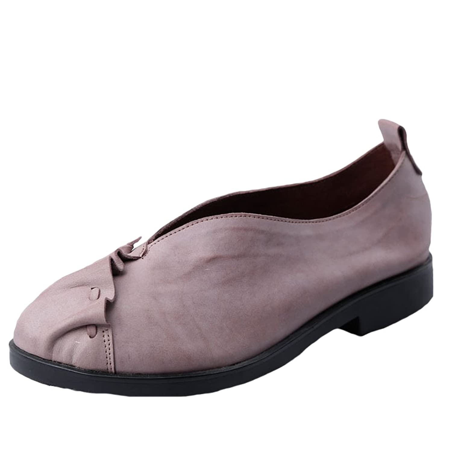 Mordenmiss Women's Spring New Casual Handmade Genuine Leather Travel Slip-On Shoes