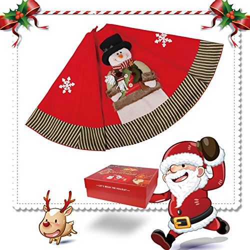 Dpowro Christmas Tree Skirt 48 Inches Red Luxury Cotton Tree Skirt with Snowman Snowflake Ornament Holiday Decorations (Christmas Gift Box Available)