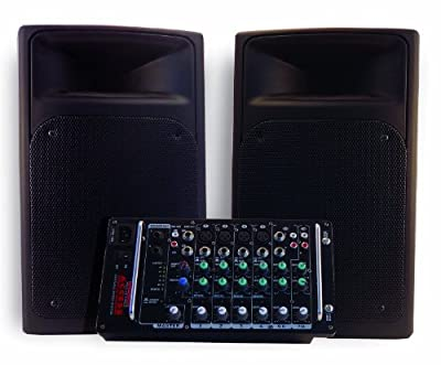 Nady ACCESS PSS-300 Portable PA System with 8-Channel Mixer, Dual 150-Watt RMS Class D Amplifiers and Full Range Speakers by Nady Systems. Inc.
