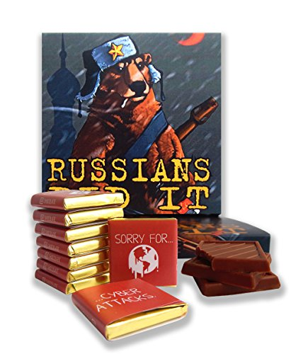 "DA CHOCOLATE Candy Souvenir Funny Food Gift ☭ ""RUSSIANS DID IT"" ☭ A Nice Joke Chocolate Set 5x5in 1 box (Bear Prime)"