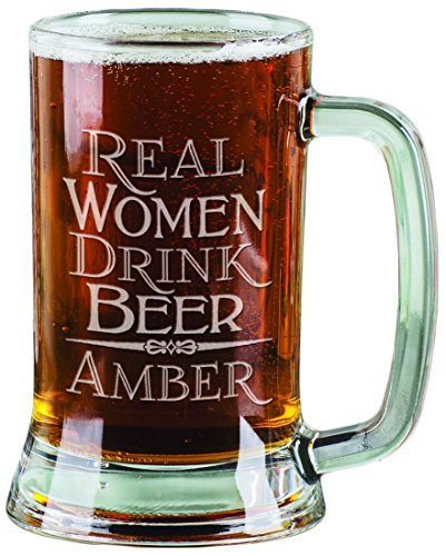 Personalized Beer Mugs for Women Real Women Drink Beer Funny Gag Engraved 16 oz Beer Stein Gift for Her (Women Drink Real)