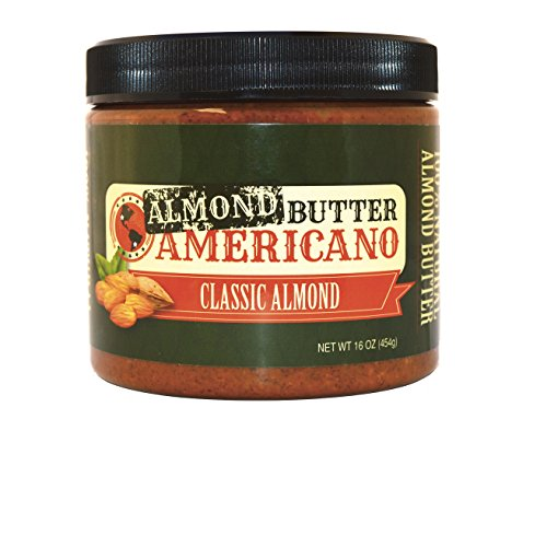 Almond Sugar Free Butter - PB Americano All-Natural Gourmet CLASSIC Crunchy Roasted Almond Nut Butter – Sugar Free, Low Net Carb, Non-GMO & Vegan (CLASSIC, 16 Oz (Single))