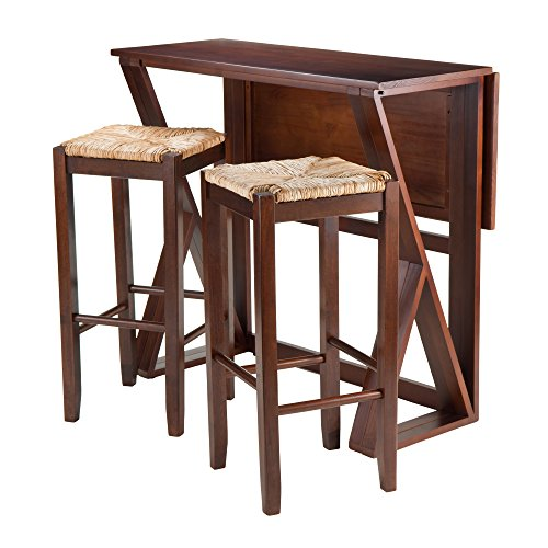 Winsome 3-Piece Harrington Drop Leaf High Table with 2 Rush Seat Stools, 29-Inch, Brown