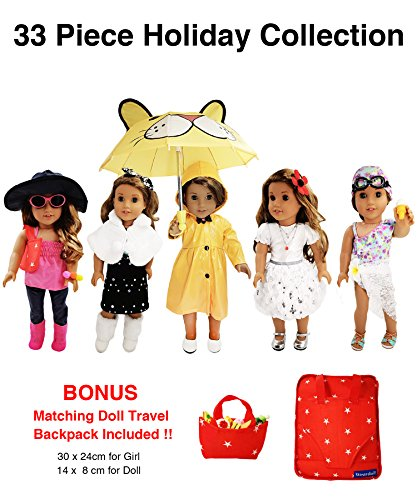 [33 Piece American Girl Doll Accessories - 18 inch Doll Clothes Accessories Set Fits American Girl, Our Generation, Journey Girls by by] (White Rabbit Dance Costumes)