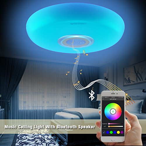 Led Music Ceiling Light with Bluetooth Speaker 25W, Modern Light Fixtures with RGB Color Changing,17.7inch 60W Home Party Light with Remote Control for Bedroom Living Room Dining Room (Flush Clear Led)