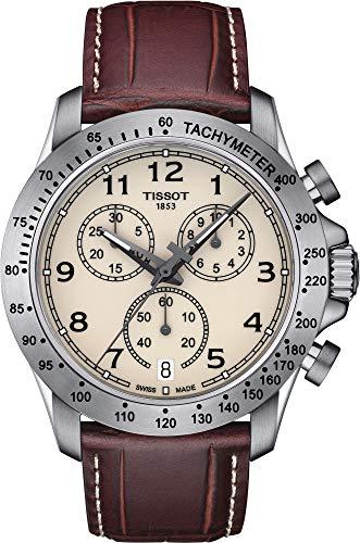 Tissot V8 T106.417.16.262.00 Ivory / Brown Leather Analog Quartz Men's Watch (Leather Chronograph Ivory)