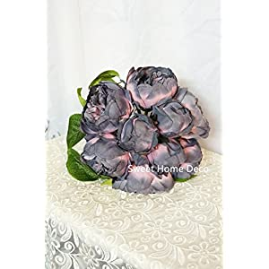Sweet Home Deco 12'' Silk Peony Artificial Flower Bouquet Wedding/Home Decorations (14 Stems/9 Flower Heads) 102