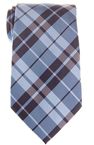 Blue Plaid Tie - Retreez Preppy Plaid Check Woven Microfiber 3.15