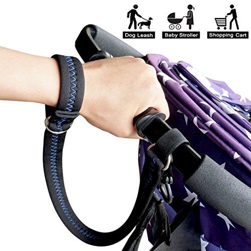 Baby Stroller Safety Wrist Strap or Large Dog Leash, Black with Blue