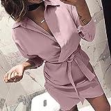 Dress Pants for Women Plus Size,Women's Fashion Long Sleeve Autumn Casual Knotted Blouse Dress,Wedding Dresses,Pink,XL