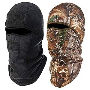 Ergodyne N-Ferno 6823 Winter Ski Mask Balaclava, Wind-Resistant Face Mask, Thermal Fleece, 2 Pack, Black & Camo