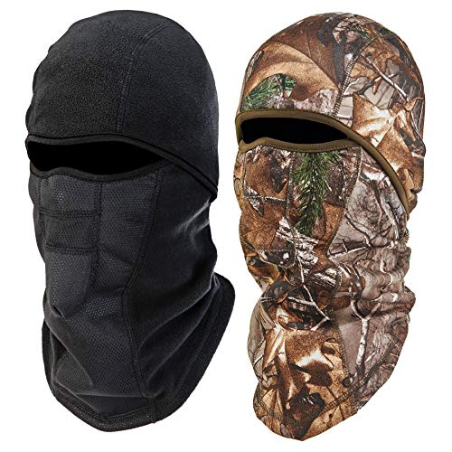 Ergodyne N-Ferno 6823 Winter Ski Mask Balaclava, Wind-Resistant Face Mask, Thermal Fleece, 2 Pack, Black & Camo