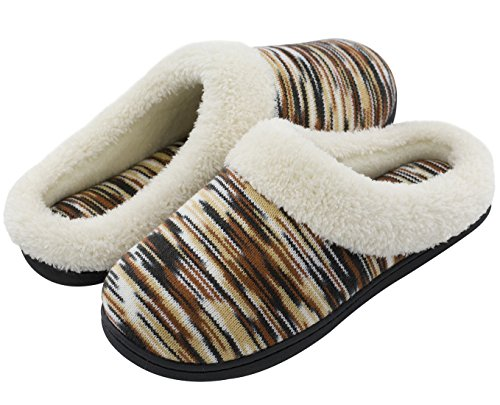 RockDove Women's Memory Foam Woolen Winter Slippers, Washable House Shoes w/Indoor Outdoor Sole