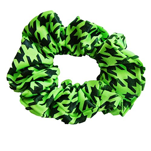 (Solid Stone Fabrics, Inc. Cheer, Gymnastics and Dance Scrunchie - Houndstooth Black/Lime)