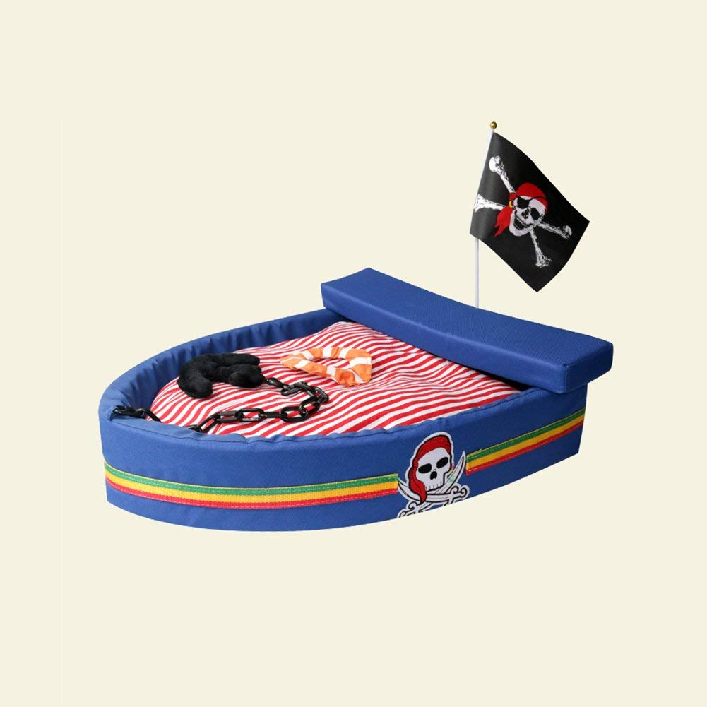 bluee MediumHeiPlaine Pet Sofa Kennel Pirate Ship Pet Bed Winter Kennel Dog Bed Cotton VIP Teddy Cat's Nest Pet's Nest (color   Black, Size   L) (color   orange, Size   Large)