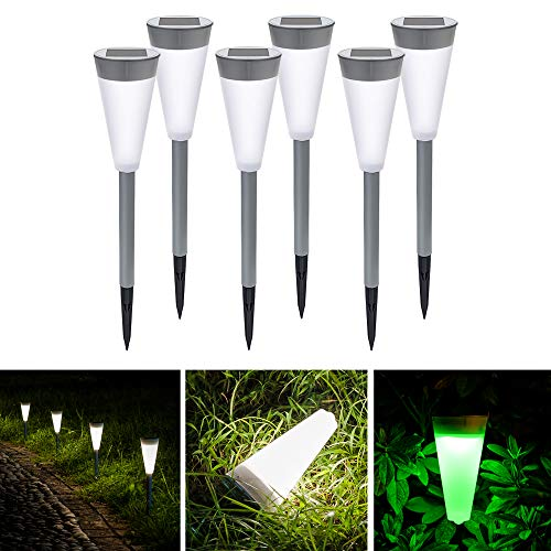 Leayjeen Solar Landscape Path Color Lights for Pathway,Outdoor, Garden,Driveway,Walkway,Yard,Lawn, Patio(6 PACK) For Sale