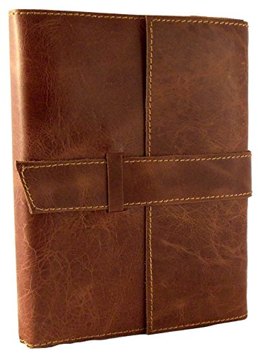 "Rustic Ridge Refillable Distressed Leather Travel Journal with Handmade Paper - 6"" x 8"" - Saddle Brown (Moderately Distressed)"