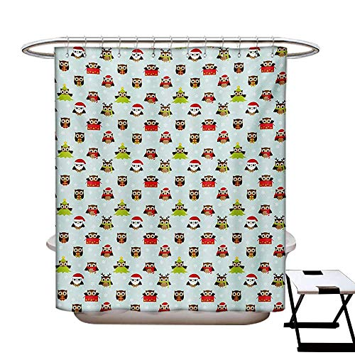 BlountDecor Owls Shower Curtain Collection by Christmas Theme with Sweet Celebration Icons Santa Claus Pine Tree Owls with Presents Patterned Shower Curtain W36 x L72 Multicolor (Collection Lauren Conrad)