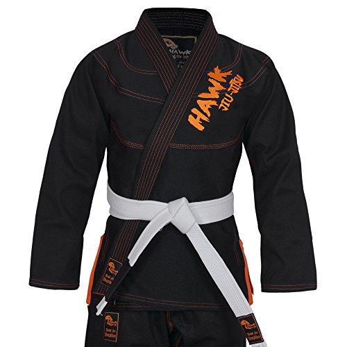 Hawk Brazilian Jiu Jitsu Suit BJJ Gi Kimonos BJJ Uniform Preshrunk Pearl Weave Fabric, With Free White Belt, Black, A1: 5'4''- 5'7''