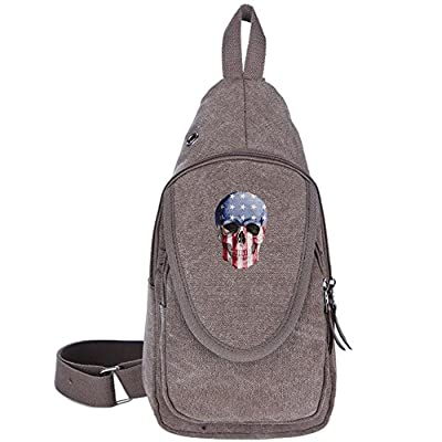 608ffd45a8 durable service Usa Skull Canvas Sling BackPack Outdoor Sports Chest Bag  Sling Backpack Lightweight With Charging