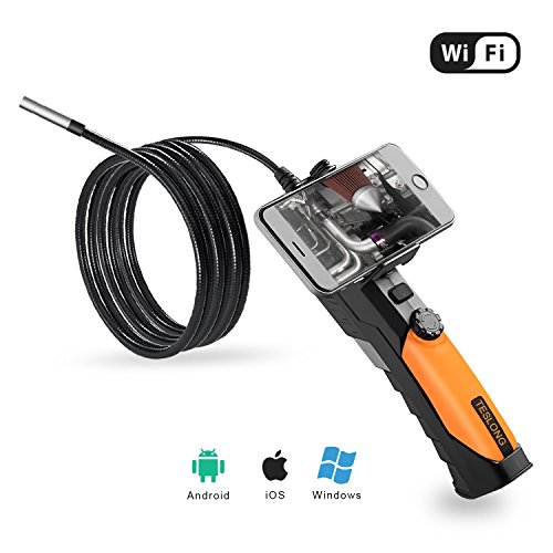Wi-Fi Endoscope, Teslong 3 Meter Semi Rigid Probe Borescope 2.0 Megapixel CMOS HD Digital Inspection Scope Camera for iPhone iPad Android Smartphone PC
