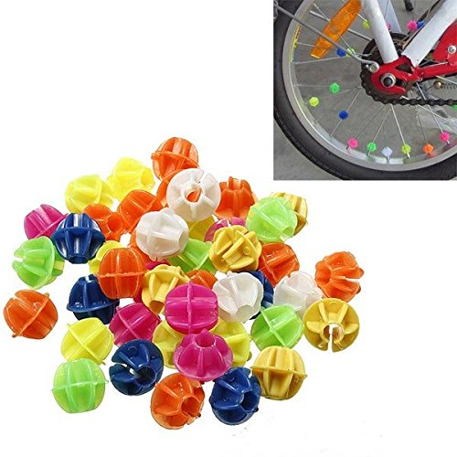 HOMEPRO 45 Pcs Bike Bicycle Wheel Spoke Beads Decor Colorful Refelector