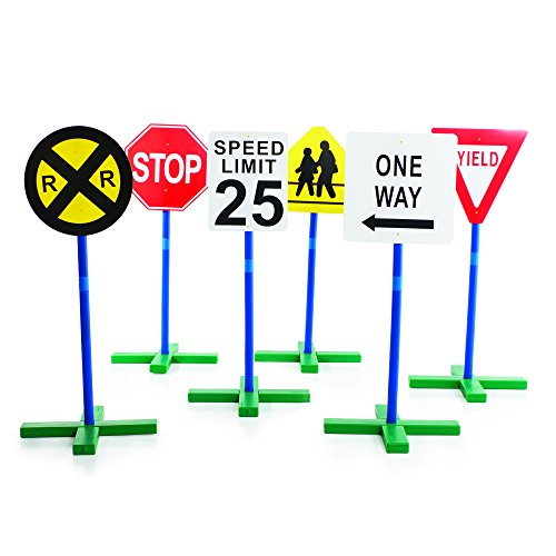 Guidecraft Drivetime Signs - Set of 6, Children's Educational Toys for Traffic Knowledge Learning, Kids Block Play (Signs Traffic Plastic)