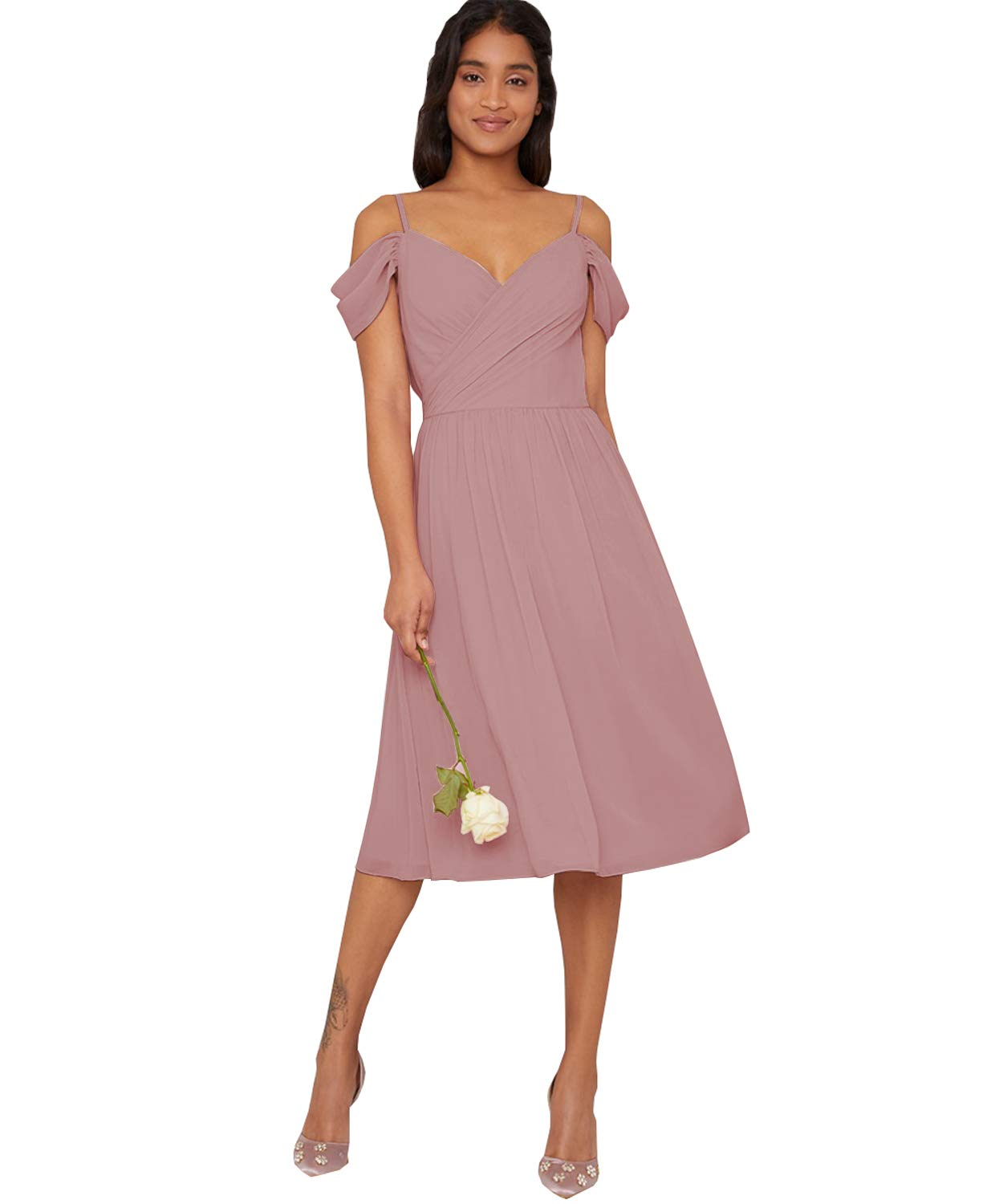 shopping latest design good Yilis Women's Spaghetti Strap A-line Bridesmaid Dress Short V-Neck Chiffon  Wedding Guest Dress Dusty Rose US12