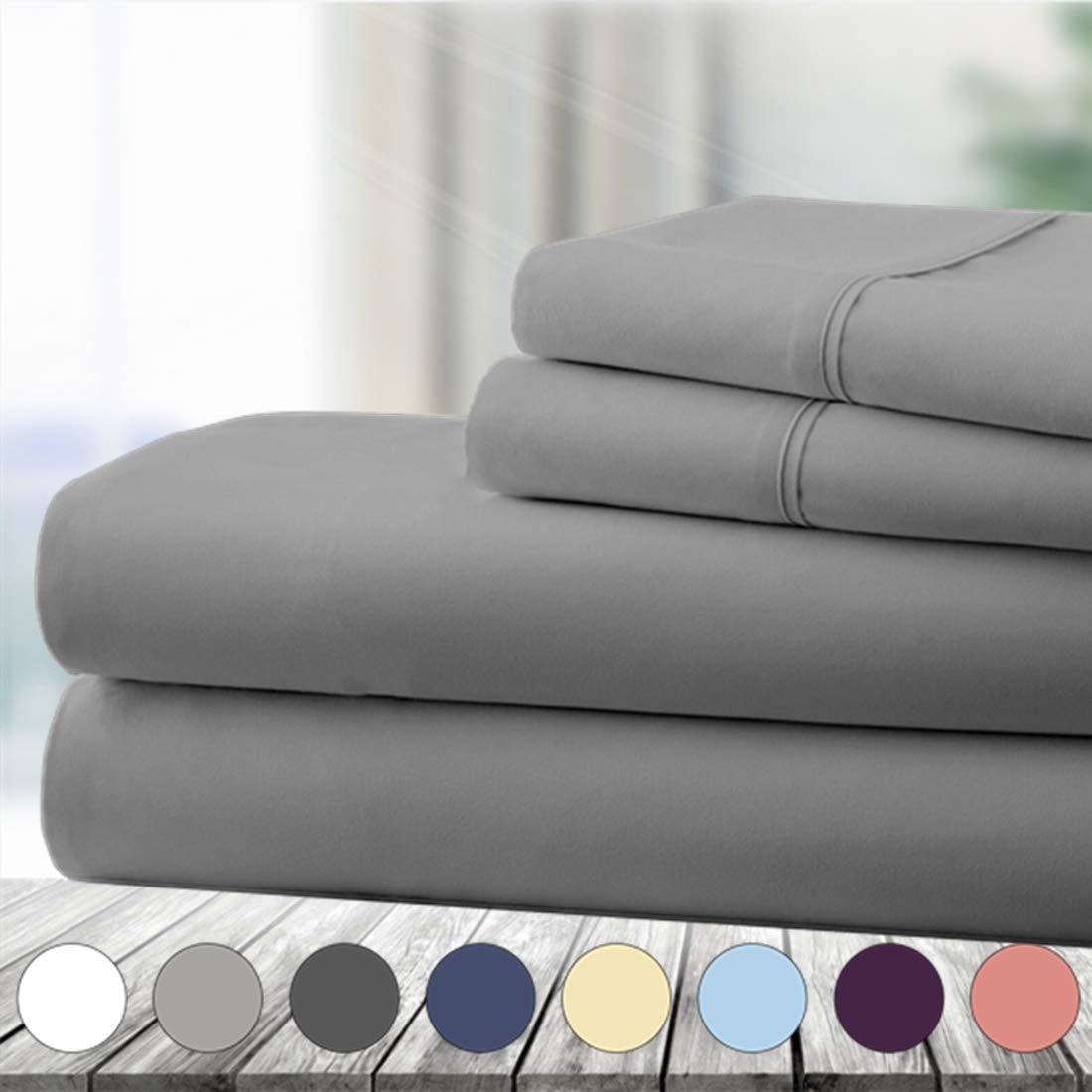 Abakan King Bed Sheet Set 4 Piece Super Soft Brushed Microfiber 1800 Thread Count Hotel Luxury Egyptian Sheet Breathable, Wrinkle, Fade Resistant Deep Pocket Bedding Sheet Set (King, Grey)