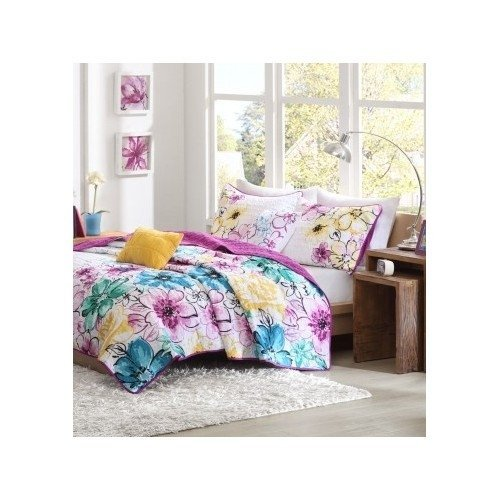 Reversible Coverlet Bed Set Girls Teen Bedding Floral Flowers Teal Green Yellow Purple Full/queen or Twin Xl (twin/twin xl)
