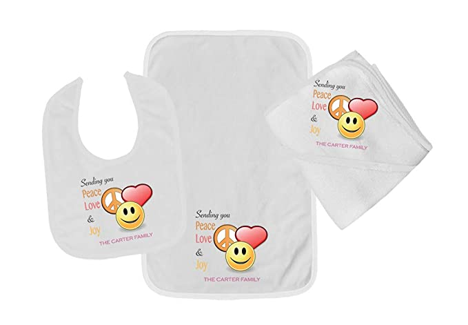 Amazon.com: Personalized Custom Sending You Peace Love Joy Cotton Boys-Girls Baby Bib-Burb-Towel Set - Blue, One Size: Clothing