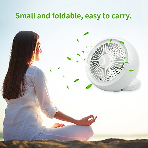 Mini USB Fan, Throne 6 Portable Desk Fan w/USB and Battery Dual Power Supply, Angle Adjustable and Low Noise, Silent Cooling Fan for Home, Office with Powerful Airflow (White) by Wolfarya (Image #4)