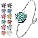 Essential Oil Diffuser Bracelet Stainless Steel Aromatherapy Locket Adjustable Bracelet Set with 24 Refill Pads