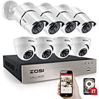 ZOSI 8-Channel FULL 1080p HD Video Security System DVR with 8pcs Indoor/Outdoor 2.0MP 1080p Bullet/Dome Cameras with Weatherproof Metal Housing 100ft(30m) IR night vision 2TB Hard Drive (white)