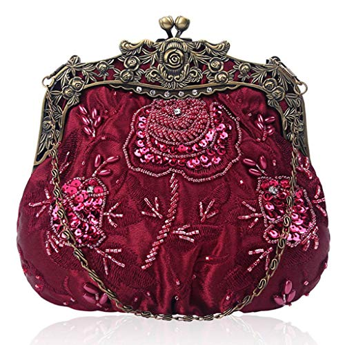 Handmade Pcs Bag Flowers Beaded Clutch YOFO for Wedding Red Vintage Perfect Bag Dinner Sequin Style Women Party 1 Wine Purse Handheld Evening P5wqxt