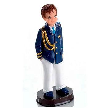Figura para tarta de Comunión Almirante, niño con chaqueta azul, pantalón blanco y galones. Recuerdo de pastel de Primera Comunión chico.