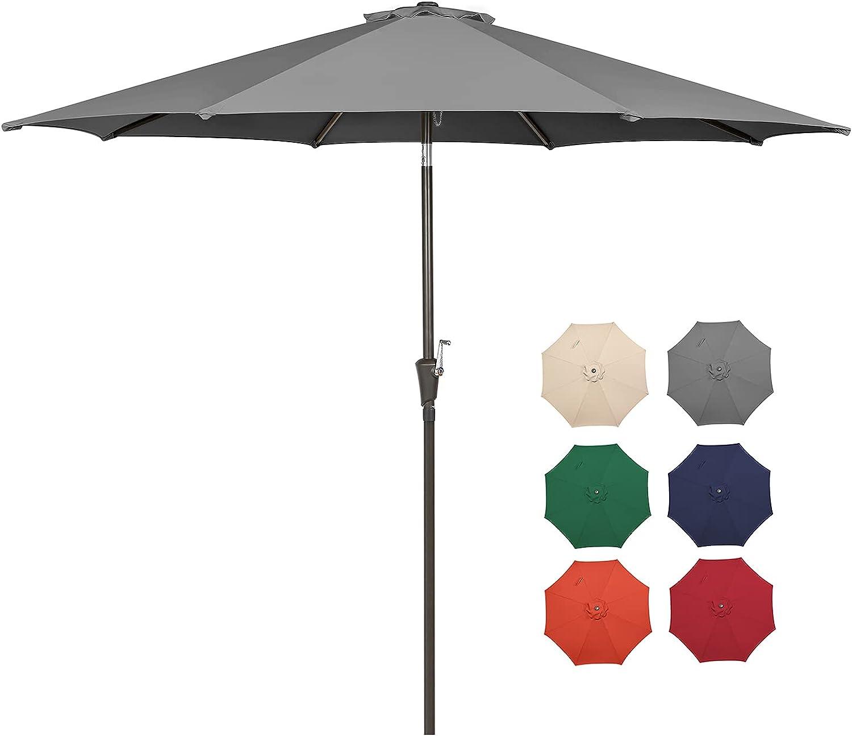 HOPEHOME 9 Ft Patio Umbrella Heavy-Duty Round Outdoor Market Patio Umbrella w/Steel Pole,Push Button Tilt,Easy Crank Lift