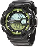 Armitron Men's 40/8246LGN Black and Lime Green Digital World Time Sport Chronograph Watch, Watch Central
