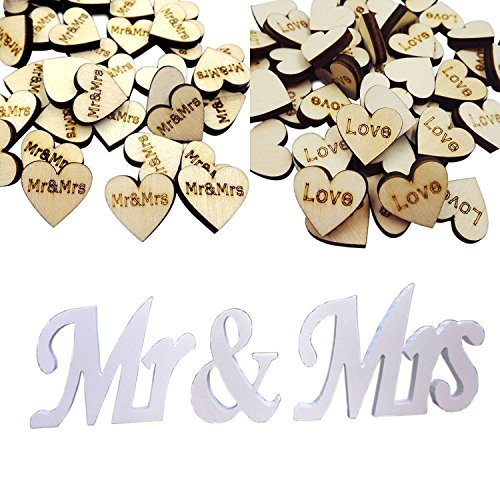 iLoveCos Mr & Mrs Sign Wedding Table Decorations with Rustic Wooden Love (Hearts Table Sign)