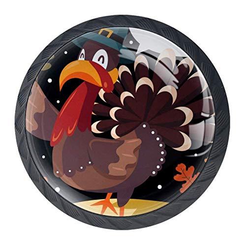 (Idealiy Happy Thanksgiving Floral Turkey Cabinet Door Knobs Handles Pulls Cupboard Handles Drawer Wardrobe 4pcs)
