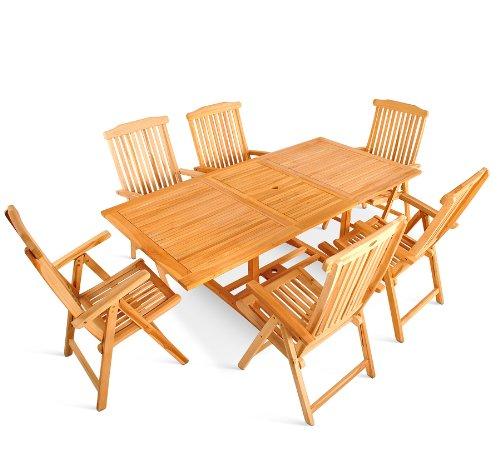 XXS® Möbel Gartenmöbel Set Caracas 7tlg Sechs Praktische Klappstühle Aruba  Tisch Caracas Ausziehbar Mit Schirmloch In Der Mitte Oberfläche Geschliffen  ...
