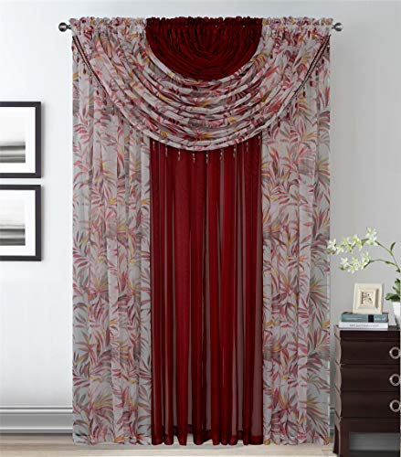 4 Panels With 2 Attached Valances All-In-One Burgundy Leaves Sheer Rod Pocket Yellow Brown Curtain Panel 84 Inches Long With Crystal Beads - Window Curtains for Bedroom, Living Room or Dinning Room (Window Bead Treatments)