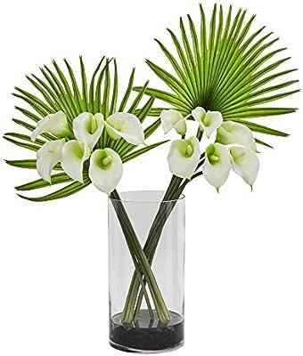 Casi Natural Calla Lily y Ventilador Palma Artificial arreglo en ...