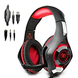 Beexcellent Gaming Headset with Mic for PlayStation 4 PS4 PC Laptop Tablet Xbox One - Surround Sound, Noise Reduction Game Earphone - Easy Volume Control & LED Lighting - 3.5MM Jack