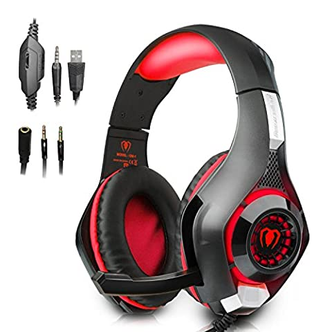 Beexcellent Gaming Headset with Mic for PlayStation 4 PS4 PC Laptop Tablet Xbox One - Surround Sound, Noise Reduction Game Earphone - Easy Volume Control & LED Lighting - 3.5MM (Gaming Laptop Top)