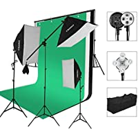 CRAPHY Photography Studio Continuous Soft Box Lighting Kit 45W 5500k Daylight Soft Box (20x26) + Background Support Stand (10x6.5FT) + 3 Backdrops (9x6FT, White Back Green) + Carrying Bag